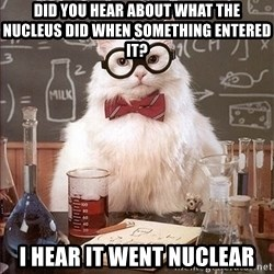 Science Cat - did you hear about what the nucleus did when something entered it? I hear It went nuclear
