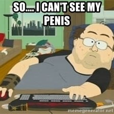 South Park Wow Guy - So.... I can't see my penis