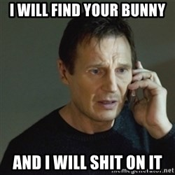 taken meme - i will find your bunny and i will shit on it