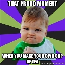 Victory baby meme - That proud moment when you make your own cup of tea