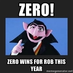 The Count from Sesame Street - ZERO! Zero wins for rob this year