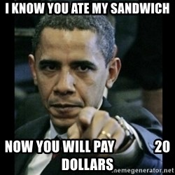 obama pointing - i know you ate my sandwich now you will pay               20 dollars