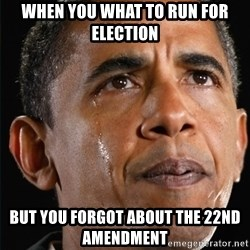 Obama Crying - WHen you what to run for ELECTION  But you forgot about the 22nd amendment