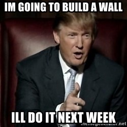 Donald Trump - im going to build a wall ill do it next week