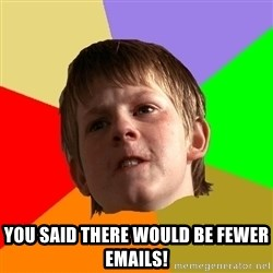 Angry School Boy -  You said there would be fewer emails!