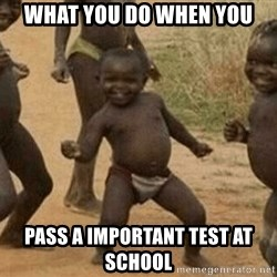 Success African Kid - what you do when you pass a important test at school