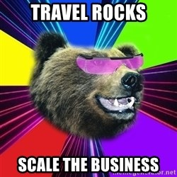Party Bear - Travel rocks scale the business