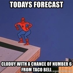 Spiderman12345 - Todays forecast Cloduy with a chance of number 6 from taco bell