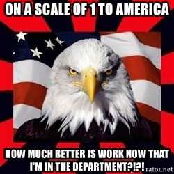 Bald Eagle - On a scale of 1 to america how much better is work now that I'm in the department?!?!