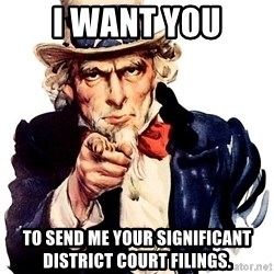 Uncle Sam Point - I want you to Send me your significant district court filings.