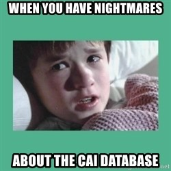 sixth sense - When you have nightmares about the CAI Database