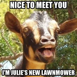 Illogical Goat - Nice to meet you I'm julie's new lawnmower