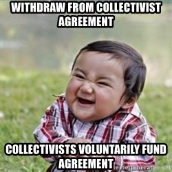 evil plan kid - Withdraw from collectivist agreement Collectivists voluntarIly fund agreement
