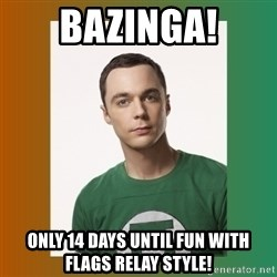 sheldon cooper  - Bazinga! only 14 days until fun with flags relay style!