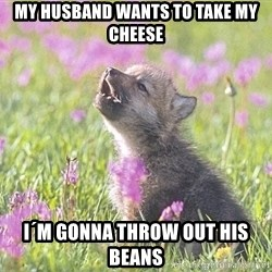 Baby Insanity Wolf - my husband wants to take my cheese I´m gonna throw out his beans