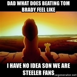 Simba - Dad what does beating tom brady feel like I have no idea son we are steeler fans