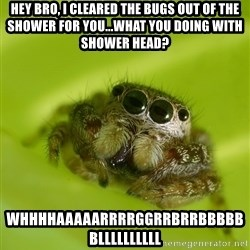The Spider Bro - Hey bro, i cleared the Bugs out of the shower for you...what you doIng WIth shower head? Whhhhaaaaarrrrggrrbrrbbbbbbllllllllll