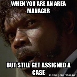Angry Samuel L Jackson - When you are an Area Manager But still get assigned a case