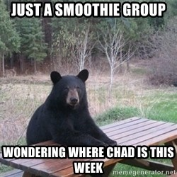 Patient Bear - just a smoothie group wondering where chad is this week