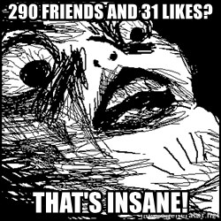 Surprised Chin - 290 Friends and 31 likes? THAT'S INSANE!