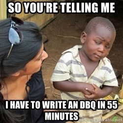 Skeptical 3rd World Kid - so you're telling me  i have to write an DBQ in 55 minutes
