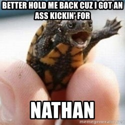 angry turtle - Better hold me back cuz i got an ass kickin' For Nathan