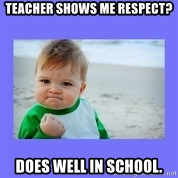 Baby fist - Teacher Shows me Respect? Does well in school.