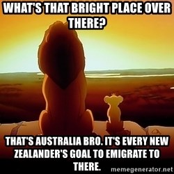simba mufasa - what's that bright place over there? that's australia bro. it's every new zealander's goal to emigrate to there.