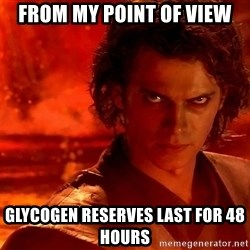 Anakin Skywalker - FROM MY POINT OF VIEW GLYCOGEN RESERVES LAST FOR 48 HOURS