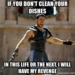 GLADIATOR - If you don't clean your dishes in this life or the next, I will have my revenge