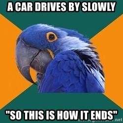 """Paranoid Parrot - A car drives by slowly """"SO this is how it ends"""""""
