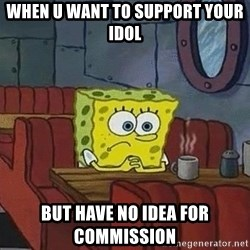 Coffee shop spongebob - when u want to support your idol but have no idea for commission