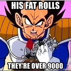 Over 9000 - His fat rolls  They're over 9000