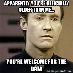 Star Trek Data - Apparently you're officially older than me... You're welcome for the data