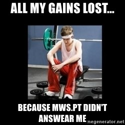 Annoying Gym Newbie - All my gains lost... Because mws.pt didn't answear me