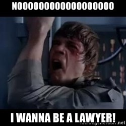 Luke skywalker nooooooo - noooooooooooooooooo i wanna be a lawyer!