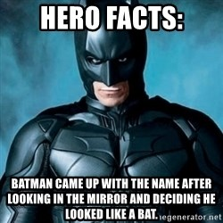 Blatantly Obvious Batman - Hero Facts: Batman came up with the name after looking in the mirror and deciding he looked like a bat.