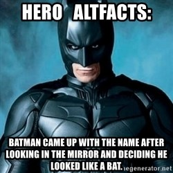 Blatantly Obvious Batman - Hero   AltFacts: Batman came up with the name after looking in the mirror and deciding he looked like a bat.