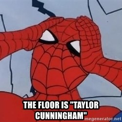 "Spider Man -  THE FLOOR IS ""TAYLOR CUNNINGHAM"""