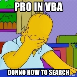 Homer Facepalm - PRO IN VBA  DONNO HOW TO SEARCH