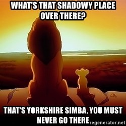 simba mufasa - What's that shadowy place over there? That's Yorkshire Simba, you must never go there