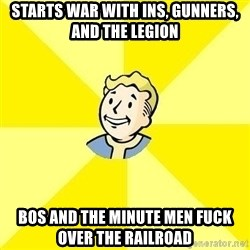 Fallout 3 - starts war with ins, gunners, and the legion BOS and the minute men fuck over the railroad
