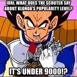 Over 9000 - Iori, what does the scouter say about Klonoa's popularity level? It's under 9000!?