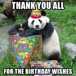 Happy Birthday Panda - Thank you all For the Birthday Wishes