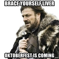 Brace Yourself Winter is Coming. - Brace Yourself Liver Oktoberfest is coming
