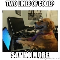 No Computer Idea Dog - two lines of code? say no more