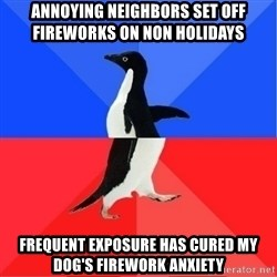 Socially Awkward to Awesome Penguin - Annoying neighbors set off fireworks on non holidays Frequent exposure has cured my dog's firework anxiety
