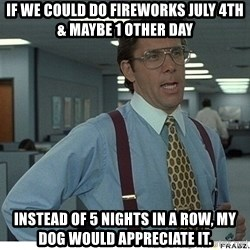 Yeah If You Could Just - if we could do fireworks july 4th & maybe 1 other day instead of 5 nights in a row, my dog would appreciate it.