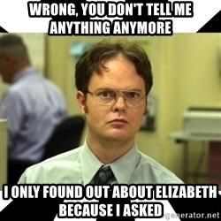 Dwight from the Office - Wrong, you don't tell me anything anymore I only found out about Elizabeth because I asked