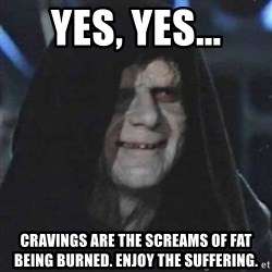 Sith Lord - Yes, Yes... Cravings are The screams of fat being burned. Enjoy the suffering.